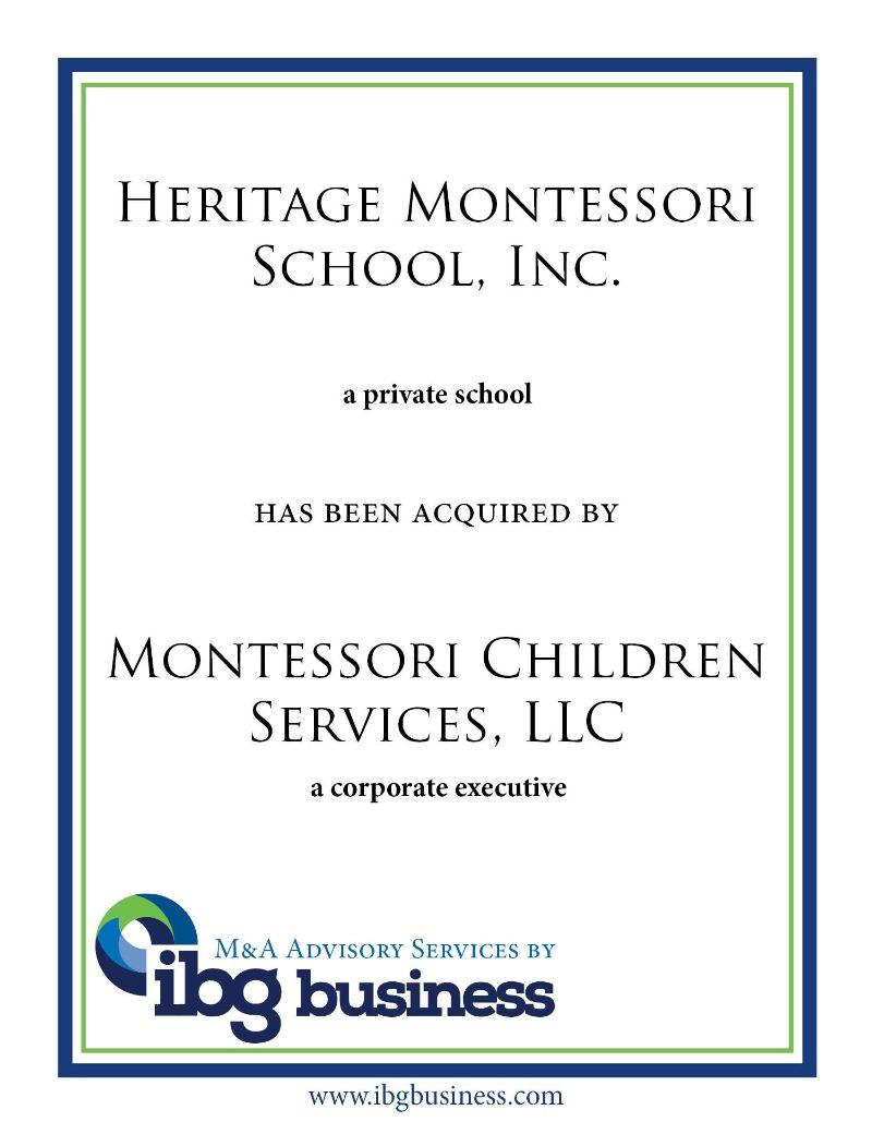Heritage Montessori School, Inc.