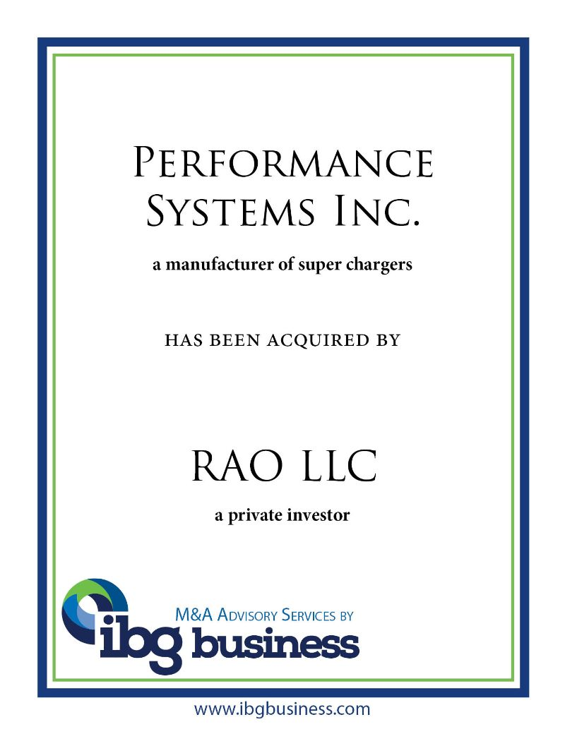 Performance Systems Inc.