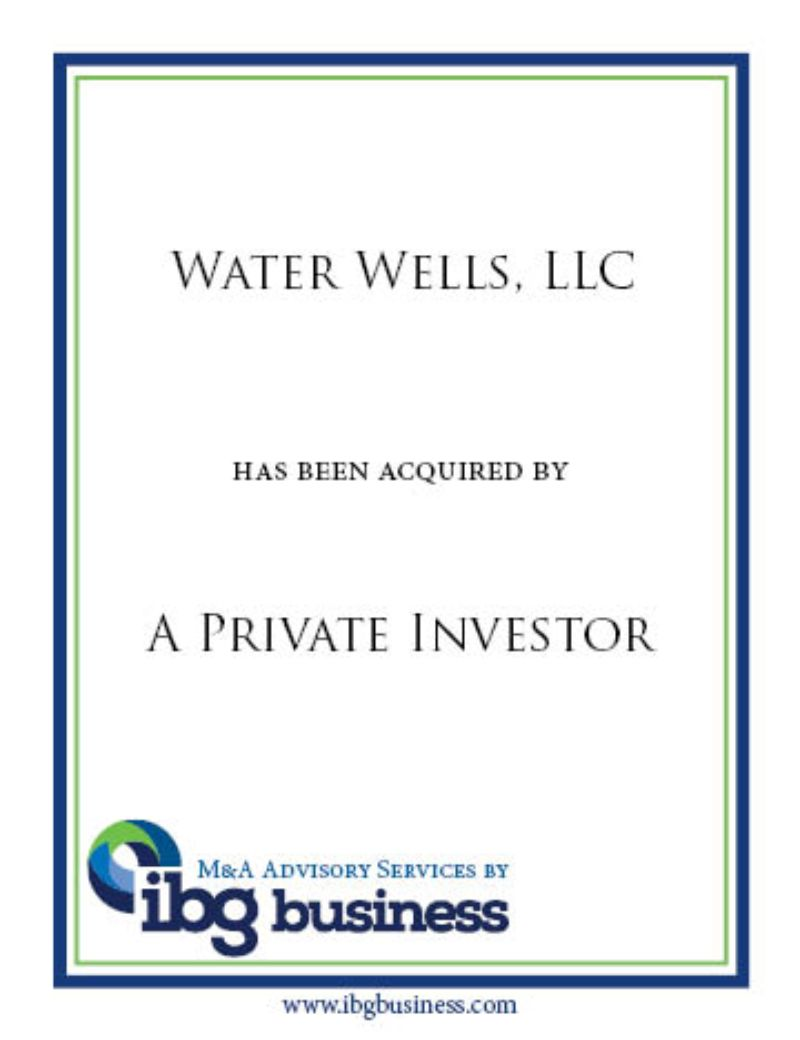 Water Wells, LLC