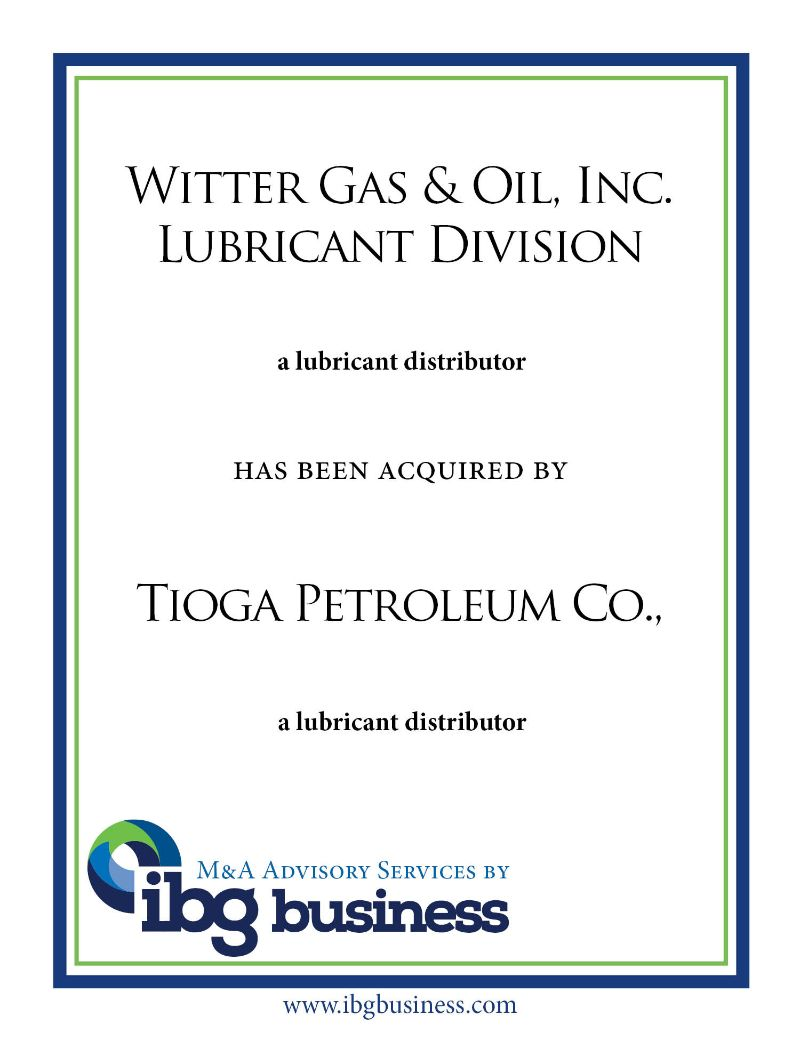 Witter Gas & Oil, Inc. Lubricant Division